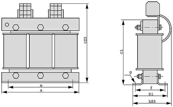 D4TB, D4TF Grafik - Dreiphasen-Transformatoren mit 4% uk